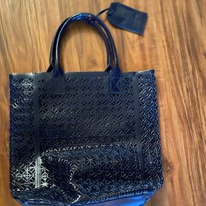 Tory Burch Perforated Large Tote Navy Blue NWT